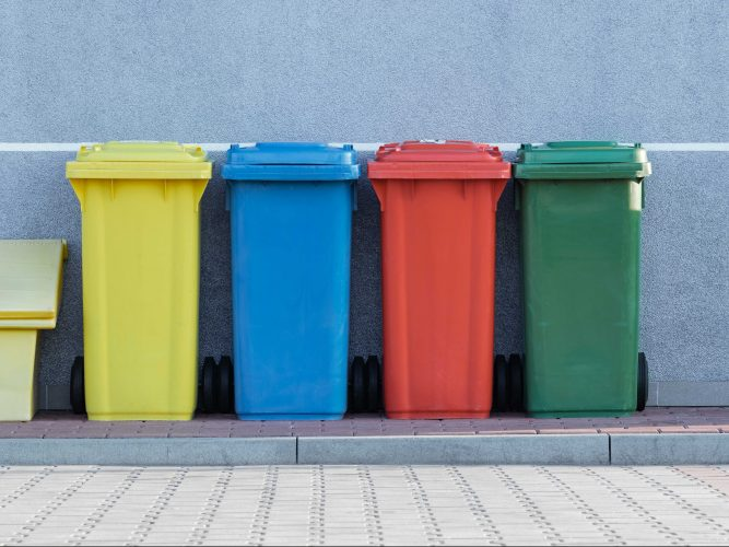 coloured garbage bins
